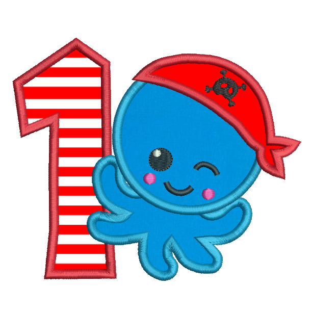 Pirate octopus 1st birthday applique machine embroidery design by sweetstitchdesign.com