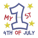 My 1st 4th July applique machine embroidery design by sweetstitchdesign.com