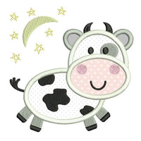 Cute cow applique machine embroidery design by sweetstitchdesign.com