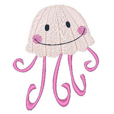 Jelly fish machine embroidery design by sweetstitchdesign.com