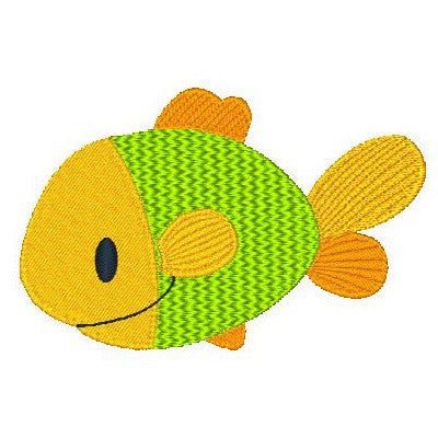 Colorful Fish machine embroidery design by sweetstitchdesign.com
