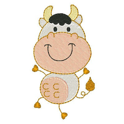 Cute cow machine embroidery design by sweetstitchdesign.com