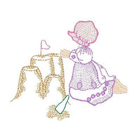Sun bonnet girl machine embroidery design by sweetstitchdesign.com