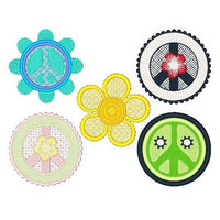 Peace sign machine embroidery designs by sweetstitchdesign.com