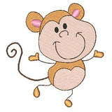 Cute monkey machine embroidery design by sweetstitchdesign.com