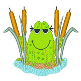 Cute frog machine embroidery design by sweetstitchdesign.com