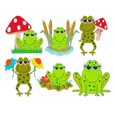 Frogs Set of machine embroidery designs by sweetstitchdesign.com