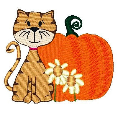 Cute autumn cat with pumpkin machine embroidery design by sweetstitchdesign.com