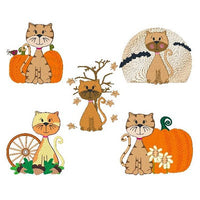 Cute autumn cat machine embroidery designs by sweetstitchdesign.com