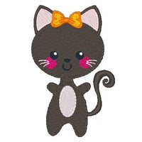 Halloween Kawaii cat machine embroidery design by sweetstitchdesign.com