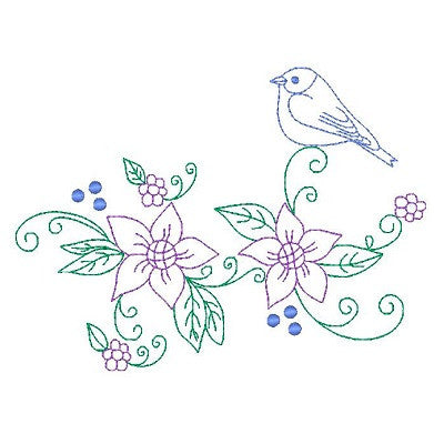 Spring flowers and birds machine embroidery design by s