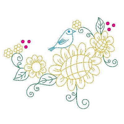 Spring flowers and birds machine embroidery design by sweetstitchdesign.com