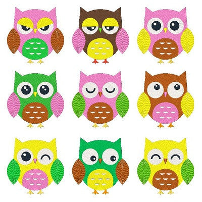 Expressive Owls Set of machine embroidery designs by sweetstitchdesign.com