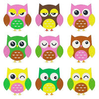Expressive Owls Set of machine embroidery designs by embroiderytree.com