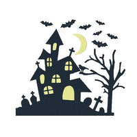 Halloween ghostly house machine embroidery design by sweetstitchdesign.com