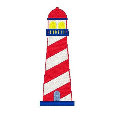 Lighthouse machine embroidery design by sweetstitchdesign.com