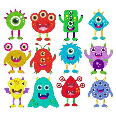 Silly monsters set of machine embroidery designs by sweetstitchdesign.com