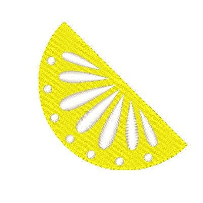 Lemon slice machine embroidery design by sweetstitchdesign.com