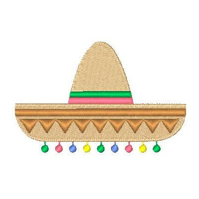 Mexican sombrero machine embroidery design by sweetstitchdesign.com