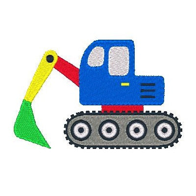 Excavator machine embroidery design by sweetstitchdesign.com