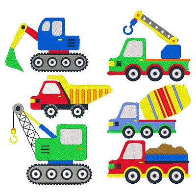 Construction set machine embroidery designs by sweetstitchdesign.com