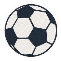 Soccer ball coaster machine embroidery design by sweetstitchdesign.com