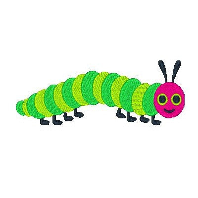 Happy Caterpillar machine embroidery design by sweetstitchdesign.com