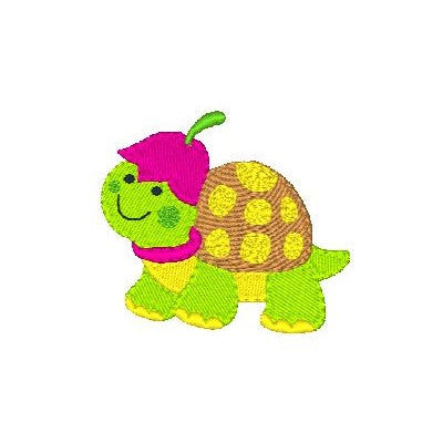 Cute baby turtle machine embroidery design by sweetstitchdesign.com