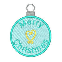 Christmas ornament fill stitch machine embroidery design by sweetstitchdesign.com
