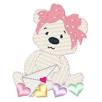 Valentine teddy bear machine embroidery design by sweetstitchdesign.com