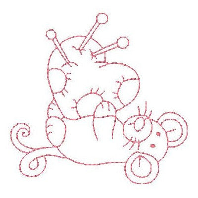 Roly poly sewing mouse machine embroidery design by sweetstitchdesign.com