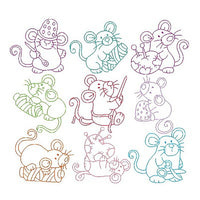 Roly Poly Sewing Mice set of machine embroidery designs by sweetstitchdesign.com