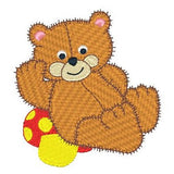 Old fashioned bear machine embroidery design by sweetstitchdesign.com