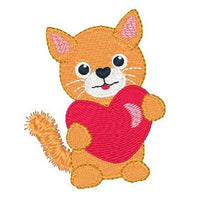 Valentine kitten machine embroidery designs by sweetstitchdesign.com