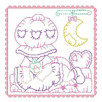 Sunbonnet baby block machine embroidery design by sweetstitchdesign.com