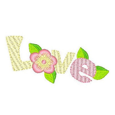 Floral love word Machine Embroidery Design by sweetstitchdesign.com