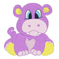 Baby hippo machine embroidery design by sweetstitchdesign.com