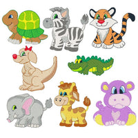 Baby jungle animals machine embroidery designs by sweetstitchdesign.com
