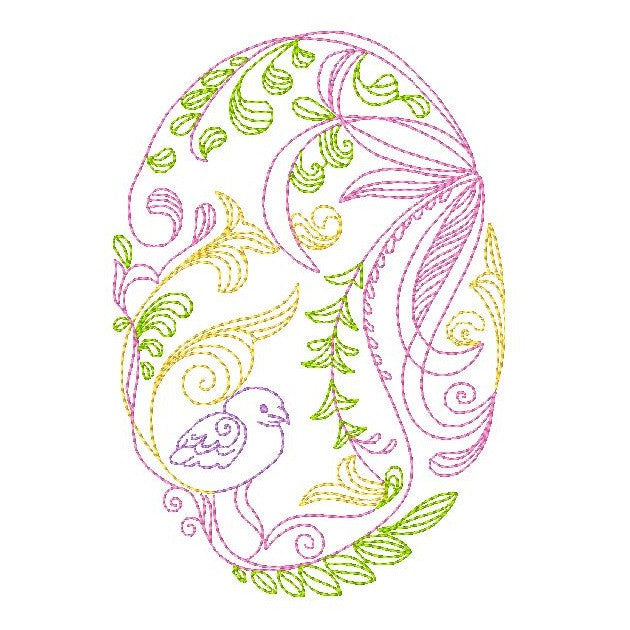 Easter egg machine embroidery design by sweetstitchdesign.com