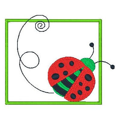 Ladybug applique machine embroidery design by sweetstitchdesign.com