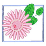 Garden Flower applique machine embroidery design by sweetstitchdesign.com