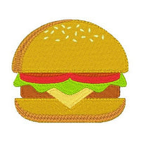 Hamburger machine embroidery design by sweetstitchdesign.com