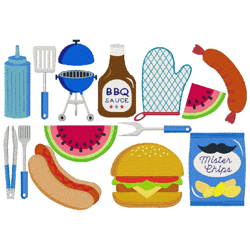 Barbeque party set of machine embroidery designs by sweetstitchdesign.com