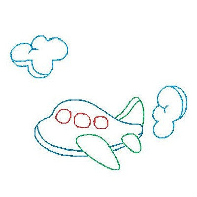 Aeroplane - multi-colored linework machine embroidery design by sweetstitchdesign.com