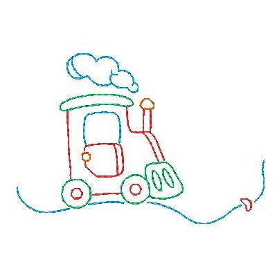 Train - multi-colored linework machine embroidery design by sweetstitchdesign.com