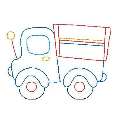 Truck - multi-colored linework machine embroidery design by sweetstitchdesign.com