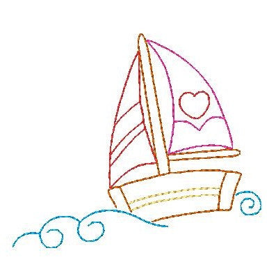 Sailboat multi-colored linework machine embroidery design by sweetstitchdesign.com