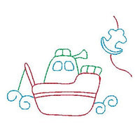 Fishing boat - multi-colored linework machine embroidery design by sweetstitchdesign.com