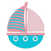 Sailboat machine embroidery design by sweetstitchdesign.com