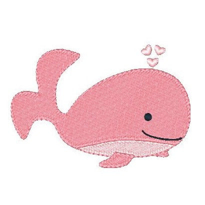 Pink whale machine embroidery design by sweetstitchdesign.com